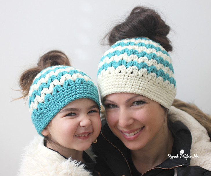 Awesome Crochet Mommy and Me Messy Bun Hats Repeat Crafter Me Messy Bun Hat Crochet Pattern Free Of Amazing 42 Ideas Messy Bun Hat Crochet Pattern Free