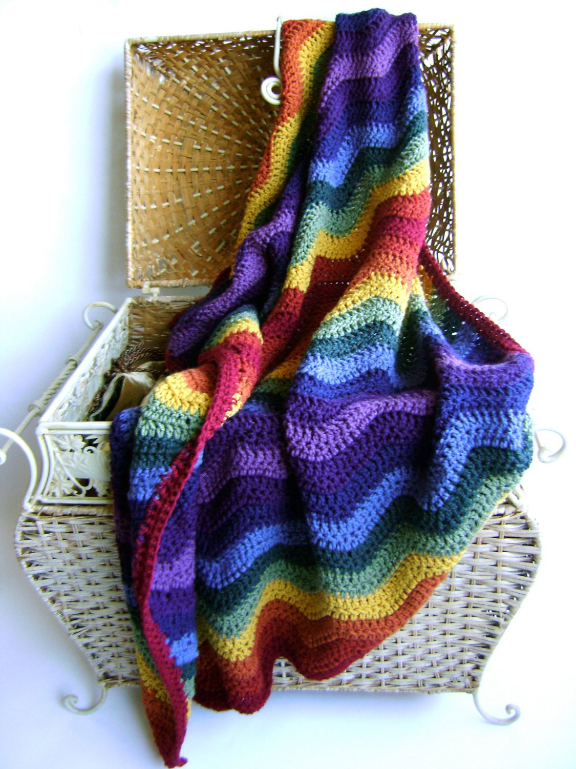 Crochet Pattern for Rainbow Ripple Baby Blanket Easy