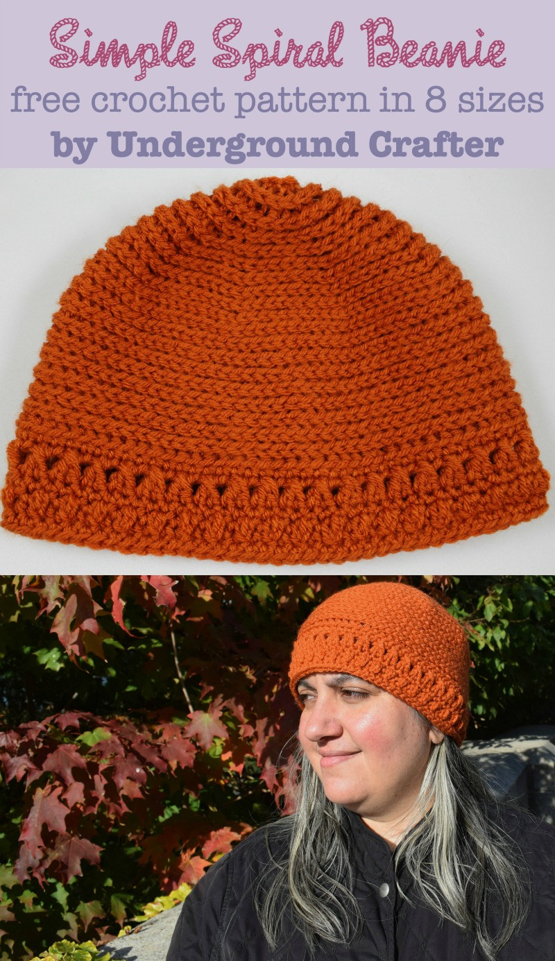 Crochet Pattern Simple Spiral Beanie in 8 sizes