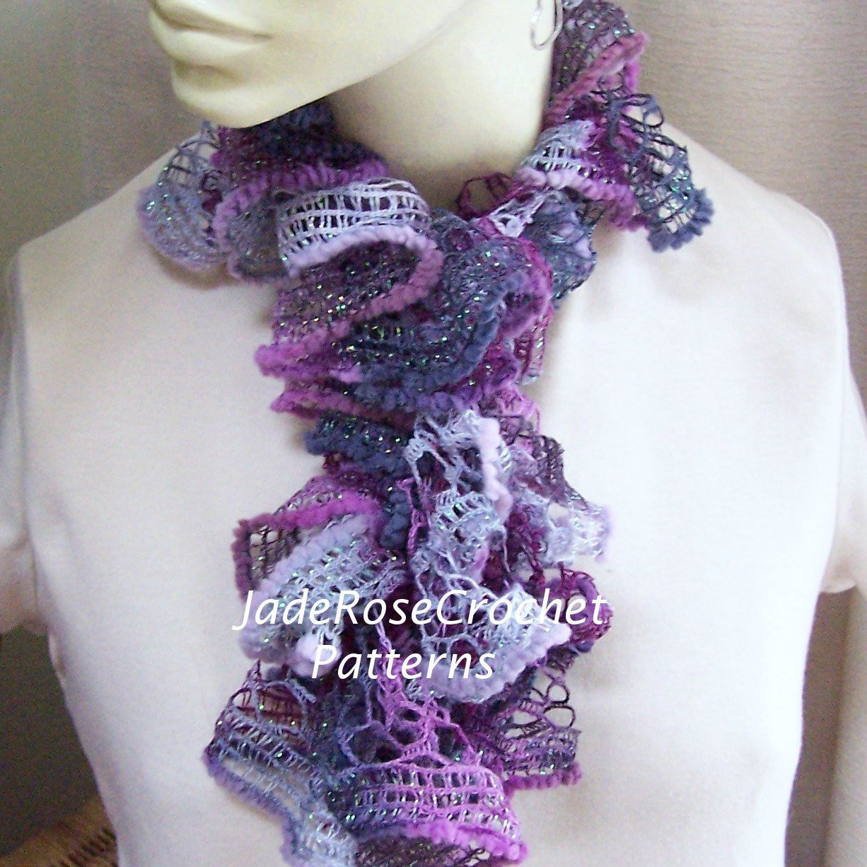 Crochet Scarf Pattern Ruffled Scarf Pattern Long and Frilly