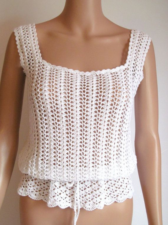 Awesome Crocheted White Cotton Tank top Crochet Tank Of Delightful 47 Images Crochet Tank
