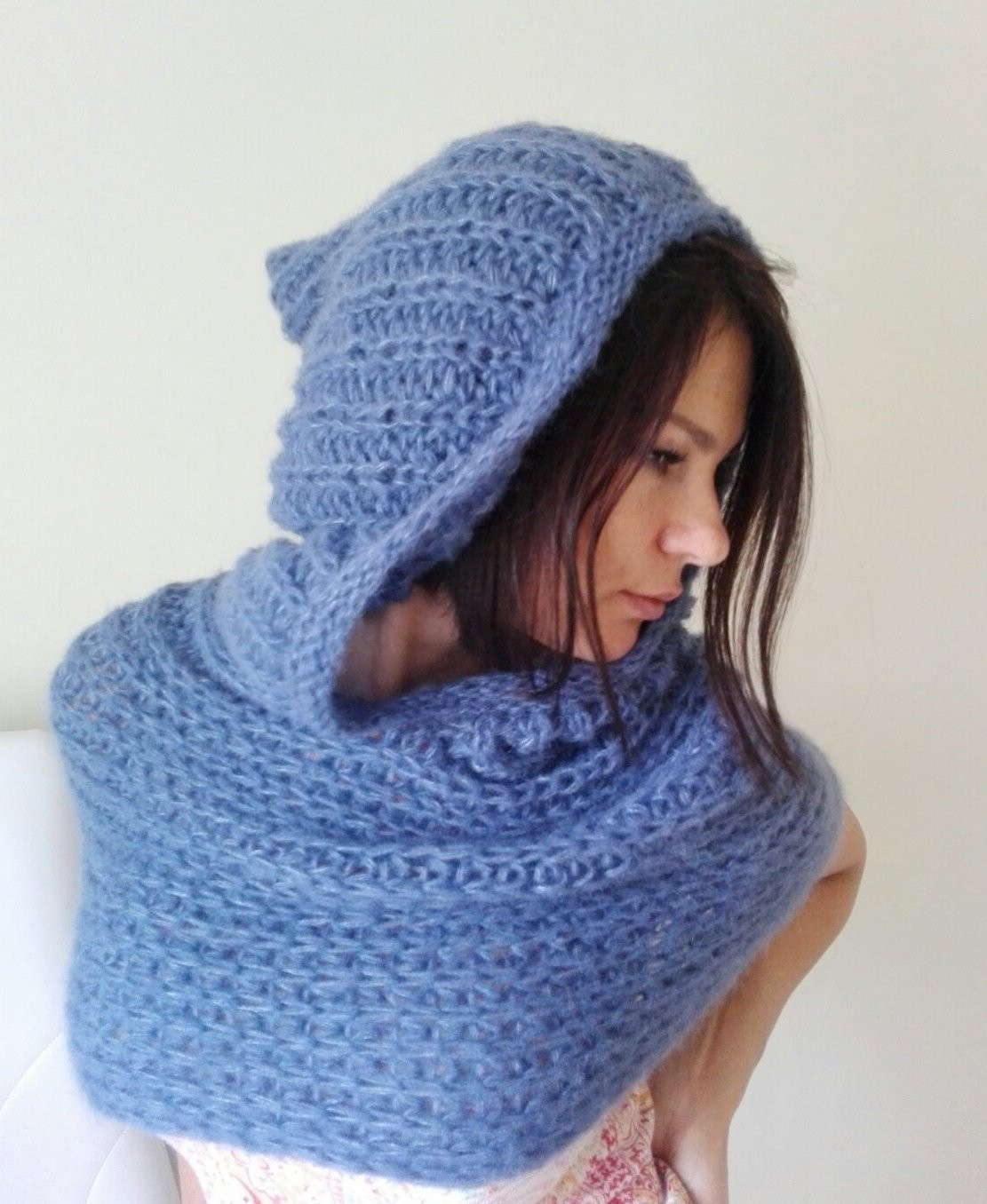 Awesome Denim Blue Knitted Neck Warmer with Hood Oversized Hooded Knitted Neck Warmer Of Amazing 47 Ideas Knitted Neck Warmer