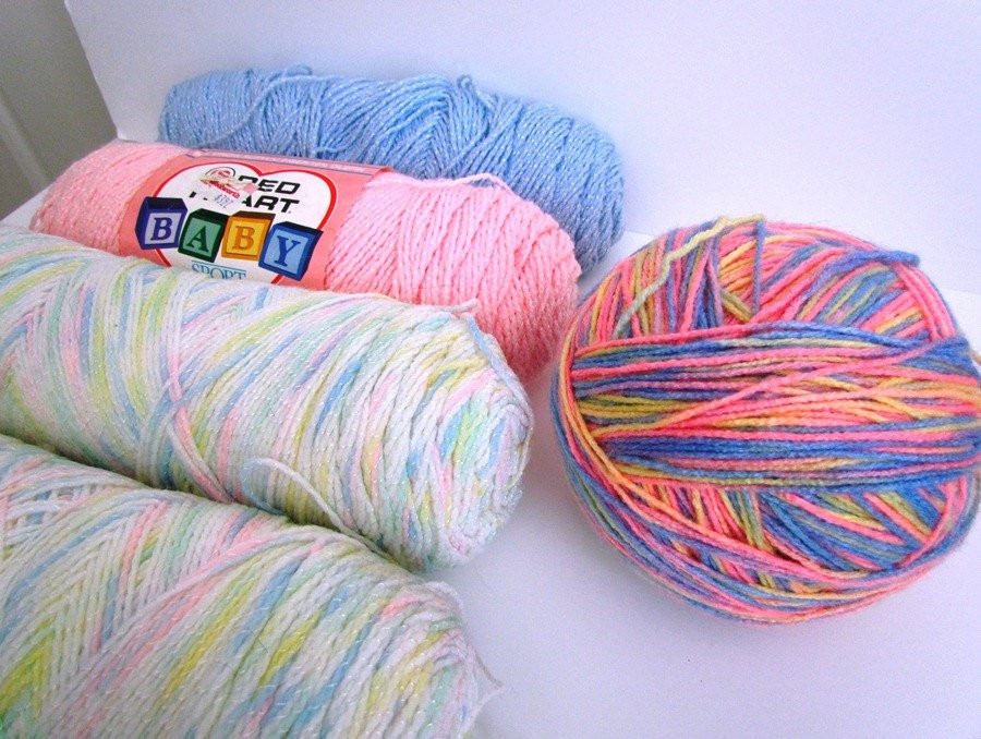 Destash Yarn Baby Colors Blue Pink White Yellow Orange by