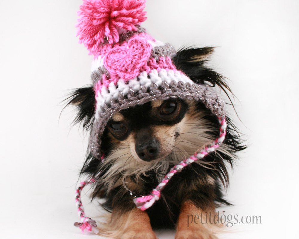 Dog Hat crochet Pink and Grey Heart Stripe ear flap hat for