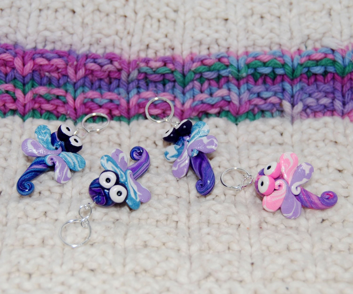 Awesome Dragonfly Knitting or Crochet Stitch Markers Set Of 4 Knitting Stitch Markers Of Gorgeous 48 Models Knitting Stitch Markers