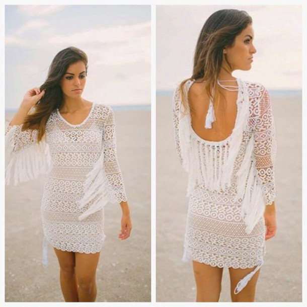Dress haute rogue crochet dress white dress lace dress