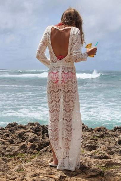 Awesome Dress Swimwear Cover Up Crochet White Backless Maxi Crochet Beach Dresses Of Gorgeous 41 Photos Crochet Beach Dresses