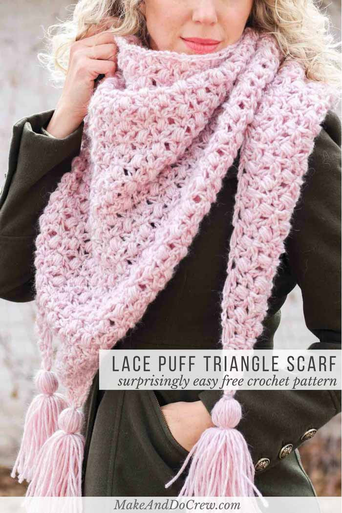 Awesome Easy Puff & Lace Crochet Triangle Scarf or Shawl Free Crochet Lace Of Amazing 43 Photos Crochet Lace