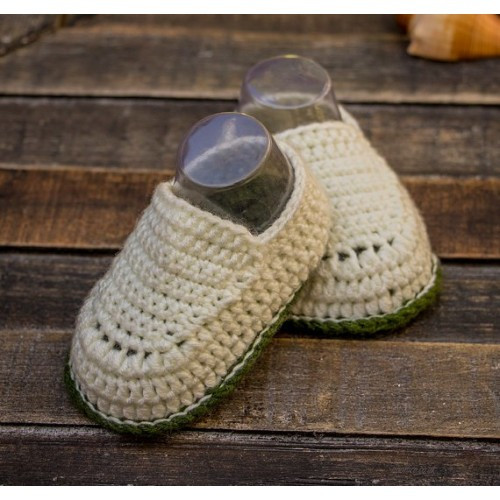 Egg shell white and olive green baby boy hand crocheted