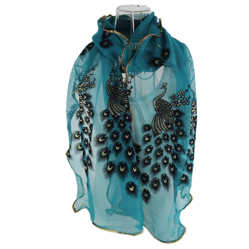 Awesome Fashion Design Women Peacock Flower Embroidered Lace Scarf Peacock Shawl Of Charming 44 Pictures Peacock Shawl
