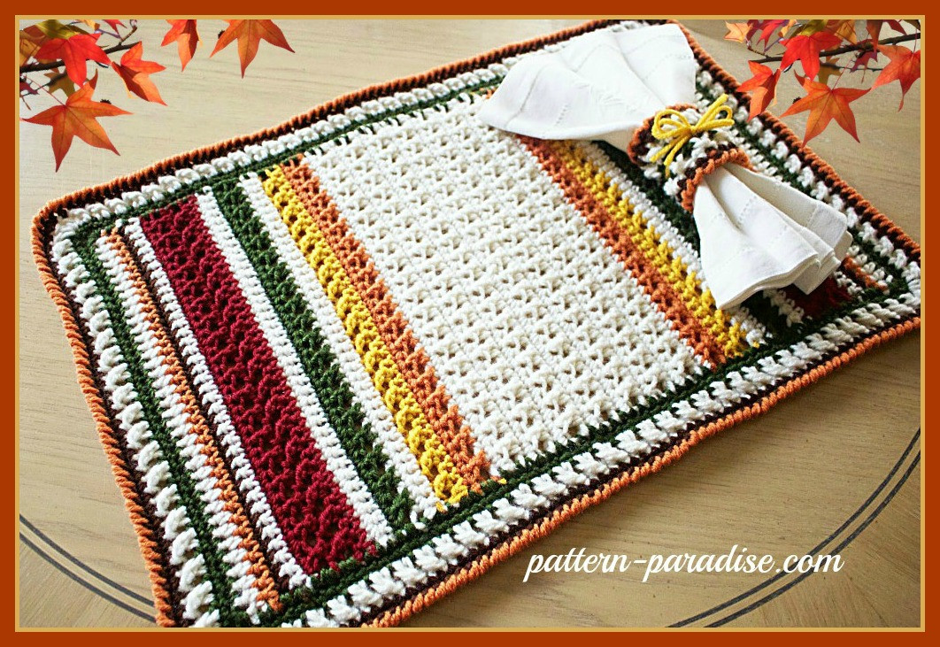 Awesome Free Crochet Pattern X Stitch Challenge Harvest Placemat Crochet Placemats Of Gorgeous 40 Models Crochet Placemats