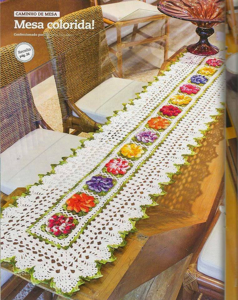 Free Crochet Table Runner Pattern Colorful Flowers
