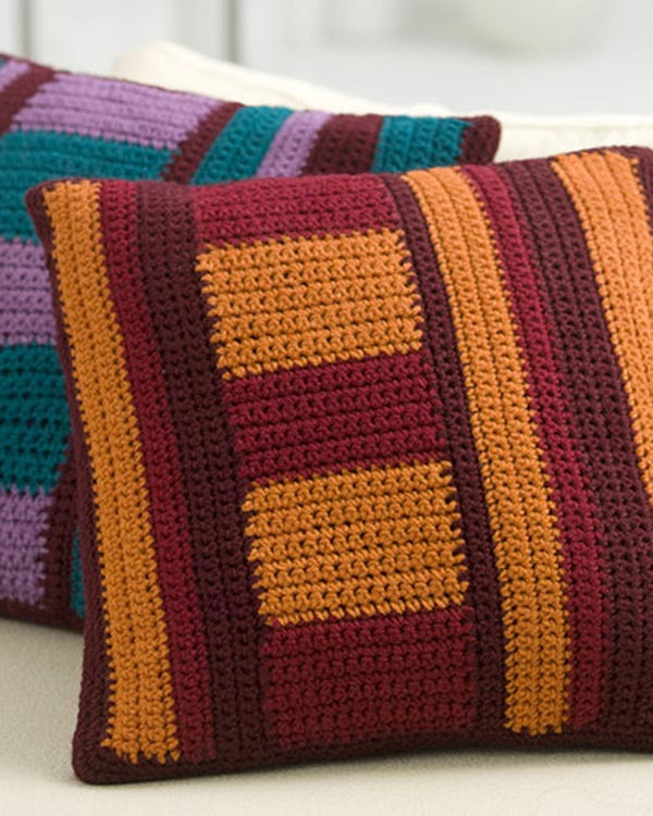 Awesome Free Mod Striped Pillows Crochet Pattern From Redheart Crochet Pillow Covers Of Incredible 47 Pics Crochet Pillow Covers