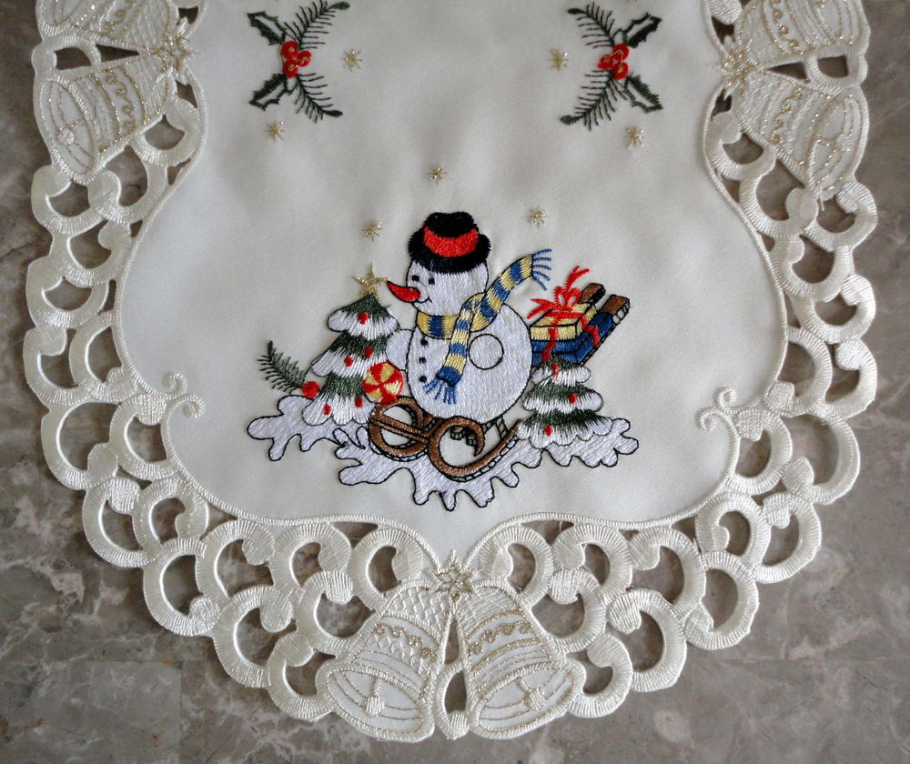 """Awesome Frosty Snowman Lace 70"""" Runner Doily Christmas Winter Christmas Doilies Of Wonderful 44 Photos Christmas Doilies"""
