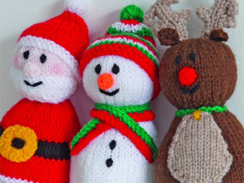 Get festive with a Santa reindeer and snowman knitting