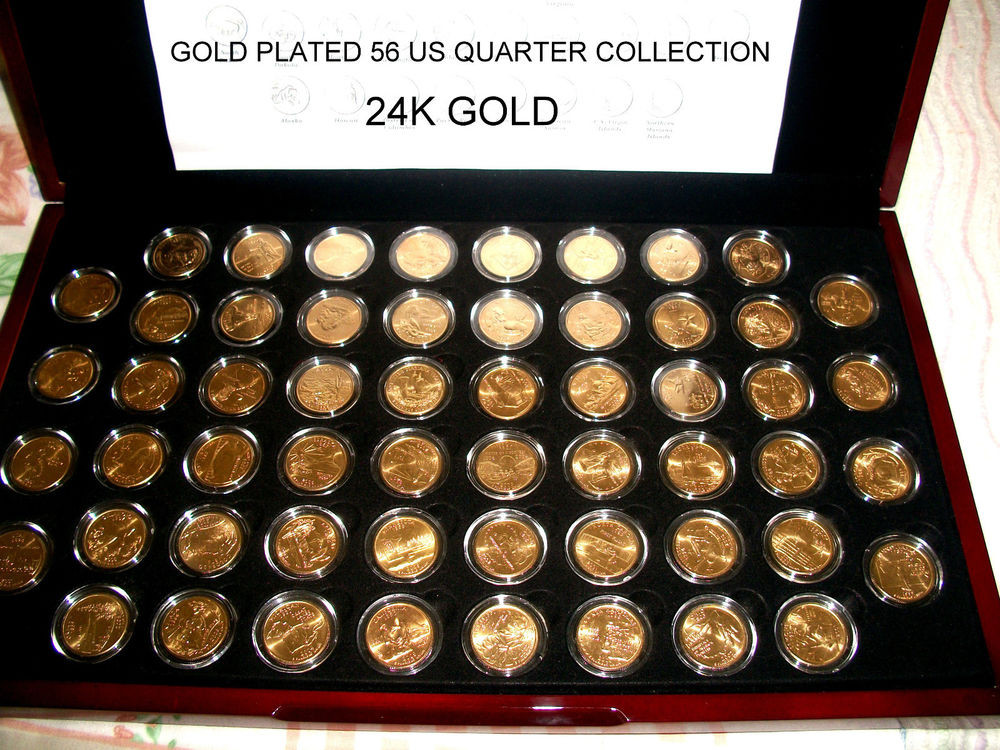 Awesome Gold Plated 56 Us State Quarter Collection In Glossy Flat Us State Quarter Collection Of Charming 49 Ideas Us State Quarter Collection