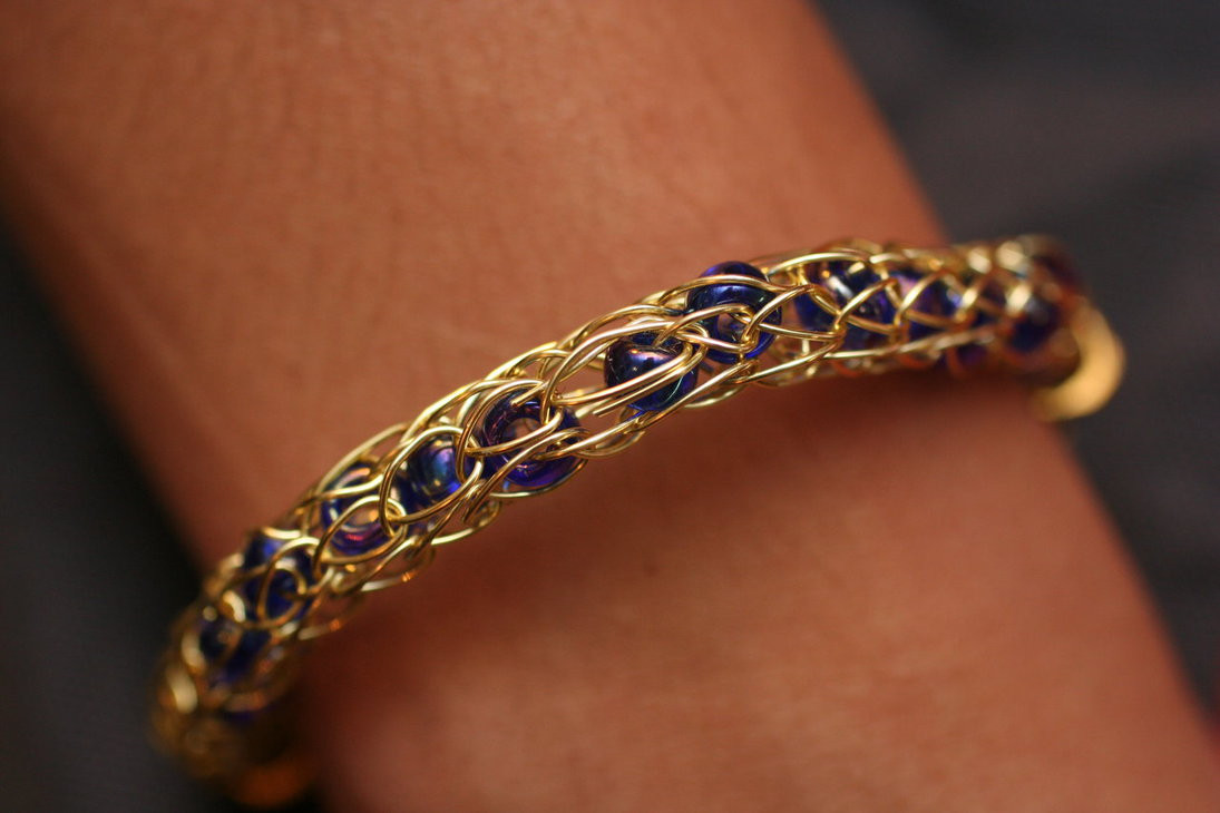 Awesome Gold Viking Wire Knit Bracelet with Beads by Versalla On Knitted Bracelet Of Brilliant 50 Models Knitted Bracelet