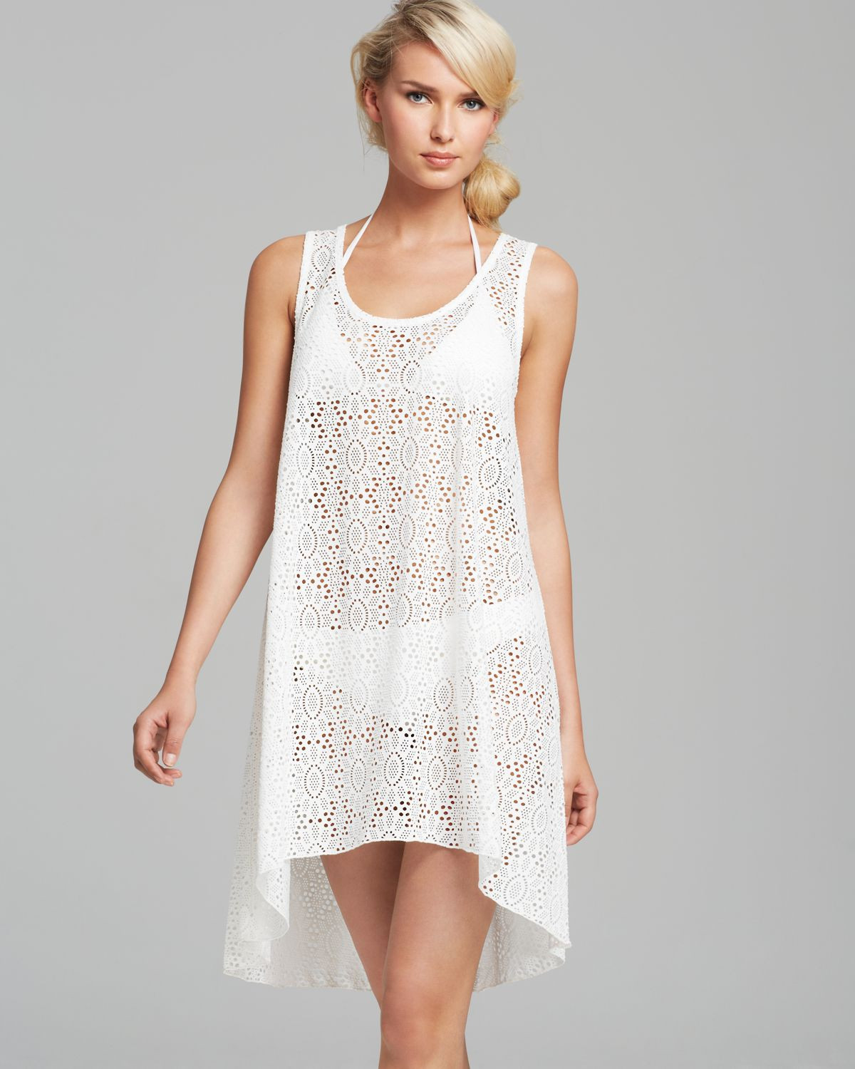 Awesome Gottex Tutti Frutti Crochet Cover Up Tank Dress In White White Crochet Cover Ups Of Charming 44 Pics White Crochet Cover Ups