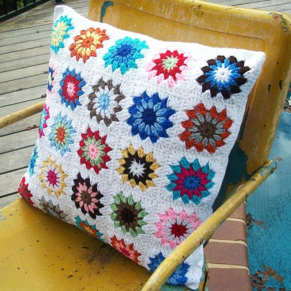 granny square crocheted pillow sham with four by