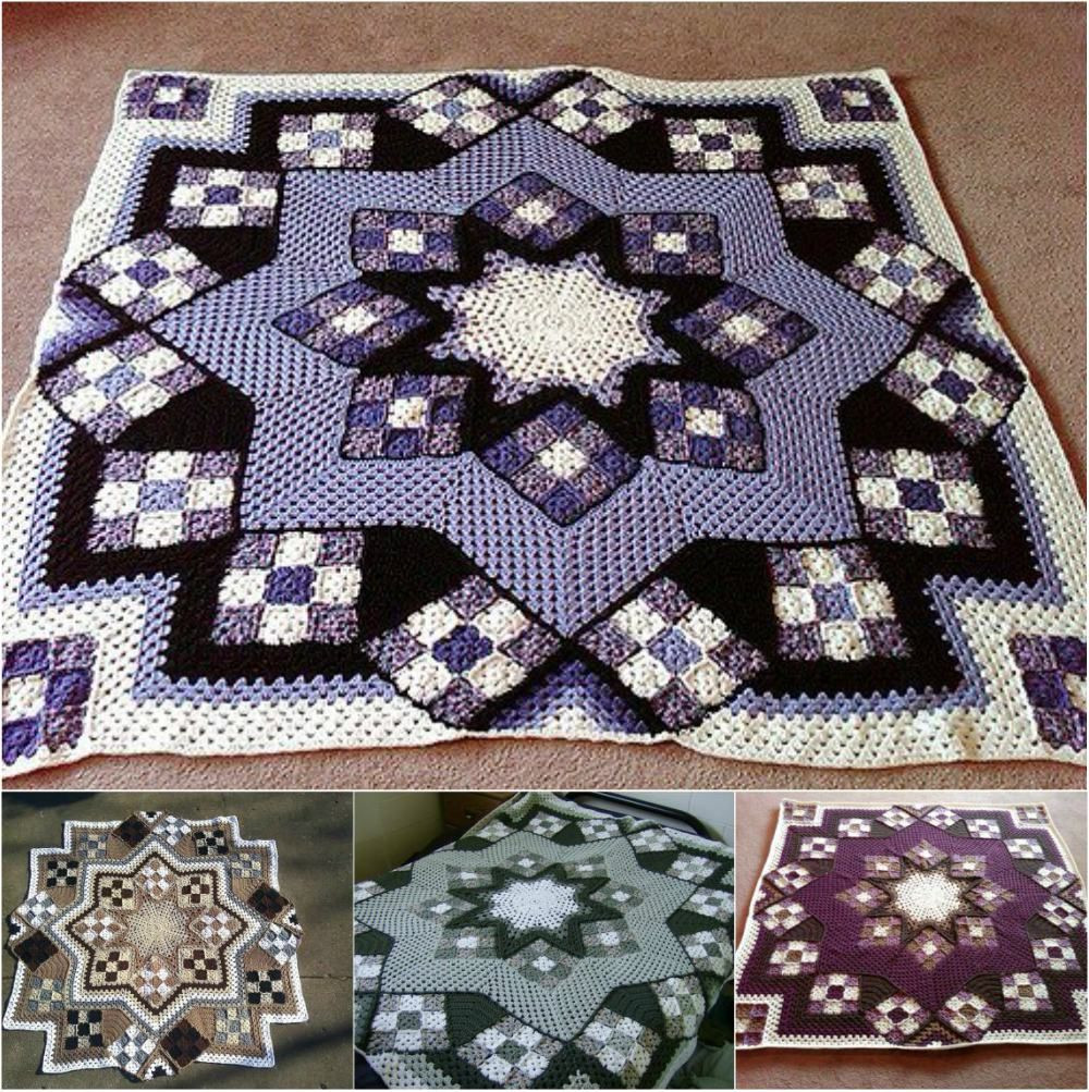 Awesome Great Blue Star Crochet Afghan [free Pattern Crochet Star Afghan Pattern Of New 45 Photos Crochet Star Afghan Pattern