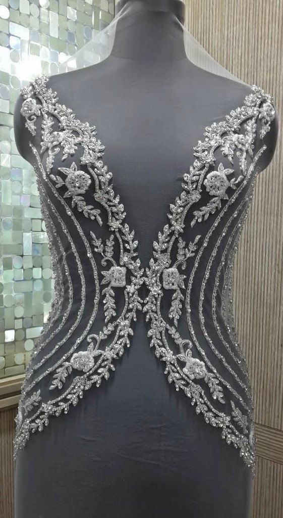 Hand Beaded and Embroidered WEDDING DRESS Bodice by