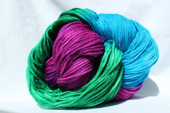 Hand dyed yarn Turquoise Green Pink variegated yarn