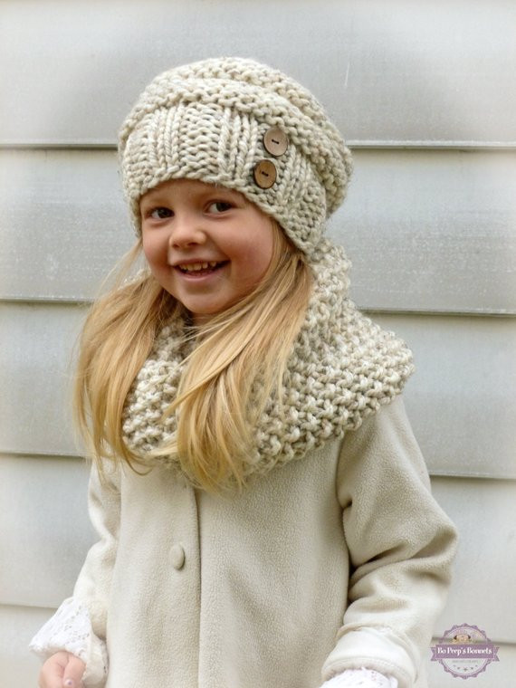 Awesome Hand Knit toddler Kids Slouchy Hat and Cowl Scarf Set In Child Infinity Scarf Of Superb 49 Models Child Infinity Scarf