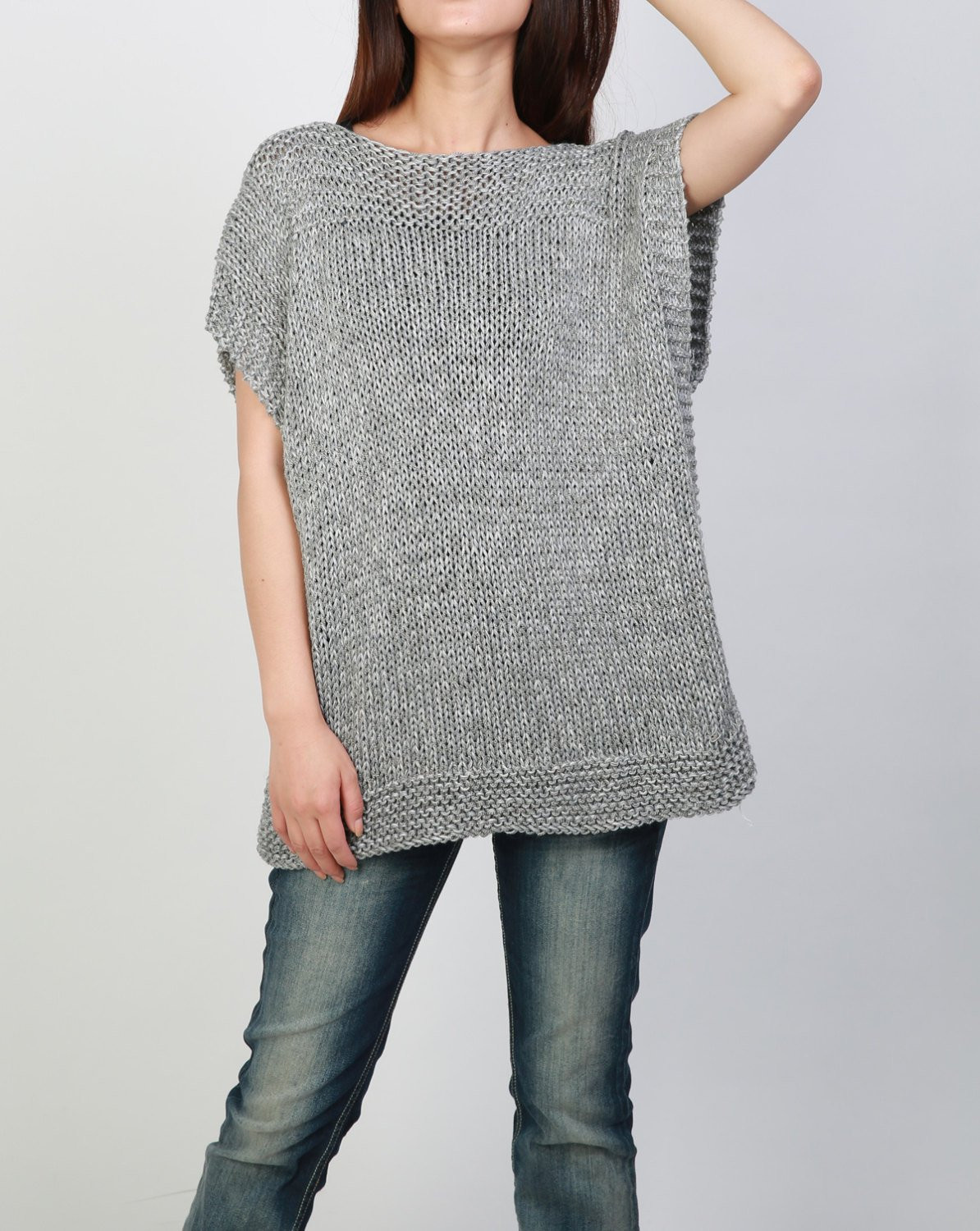 Hand knit Tunic sweater grey eco cotton woman sweater vest