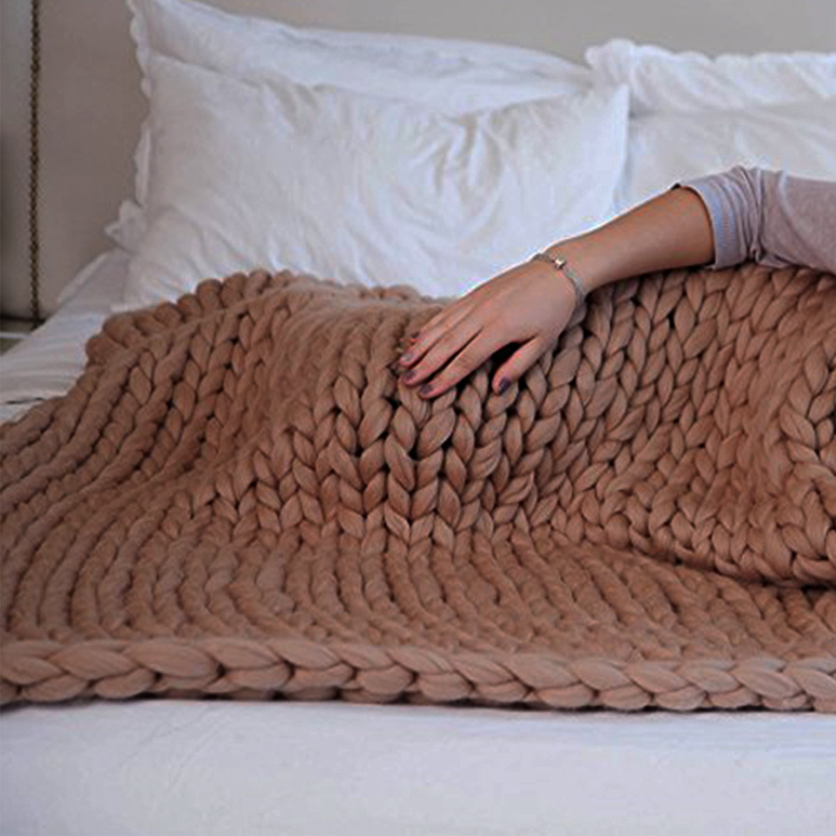 Awesome Handmade Chunky Knitted Blanket Wool Thick Line Yarn Fat Yarn Blanket Of Adorable 40 Pics Fat Yarn Blanket