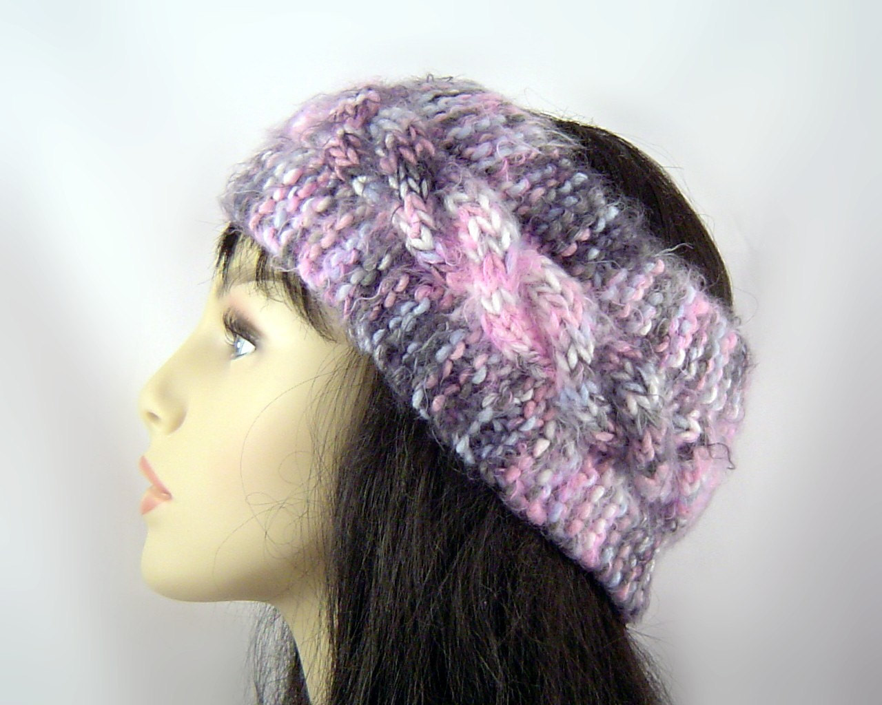 Headband Ear Warmer Wool Knitted in Cable Stitch Free Shipping