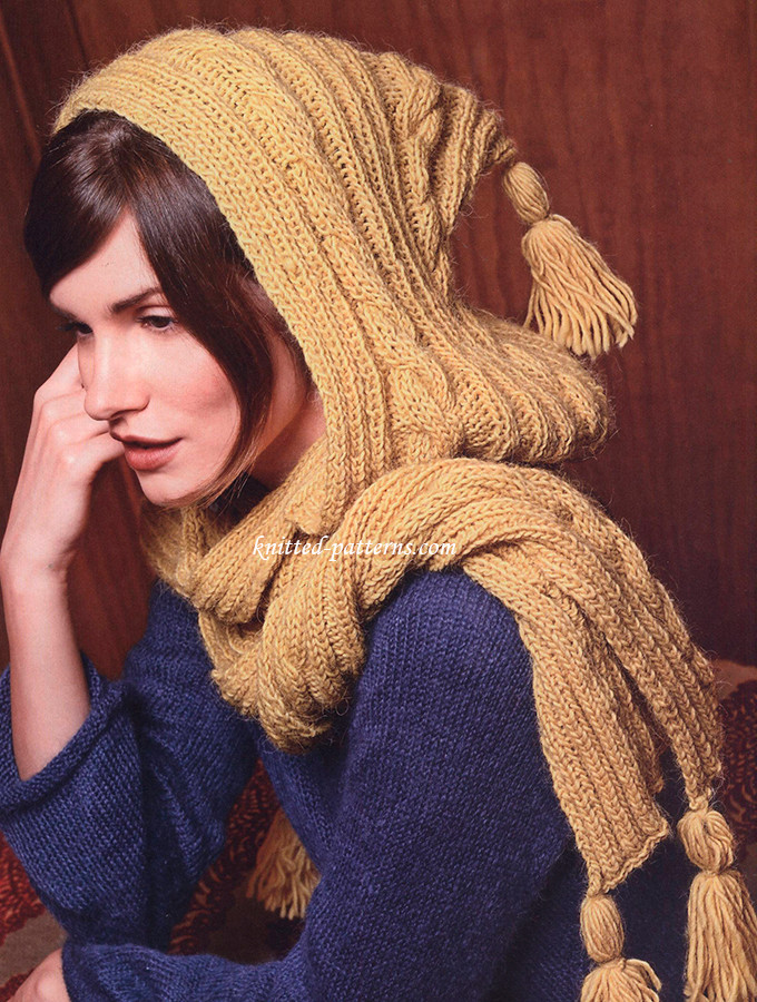 """Awesome Hooded Scarf """"iseult"""" Hooded Scarf Knitting Pattern Of Delightful 48 Pictures Hooded Scarf Knitting Pattern"""