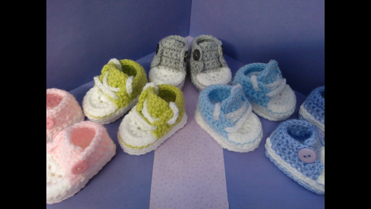 How to crochet my easy petite baby converse style slippers