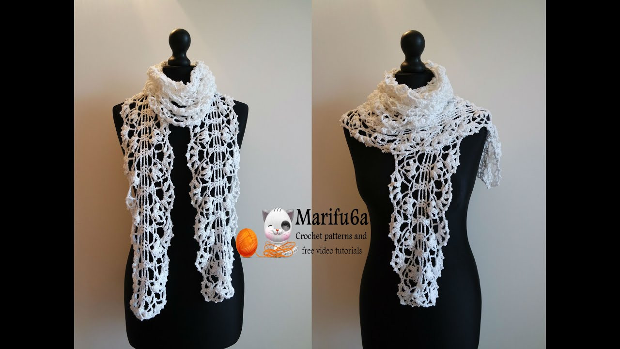 Awesome How to Crochet White Lace Scarf Free Pattern Tutorial Crochet Scarf Youtube Of Attractive 40 Pictures Crochet Scarf Youtube