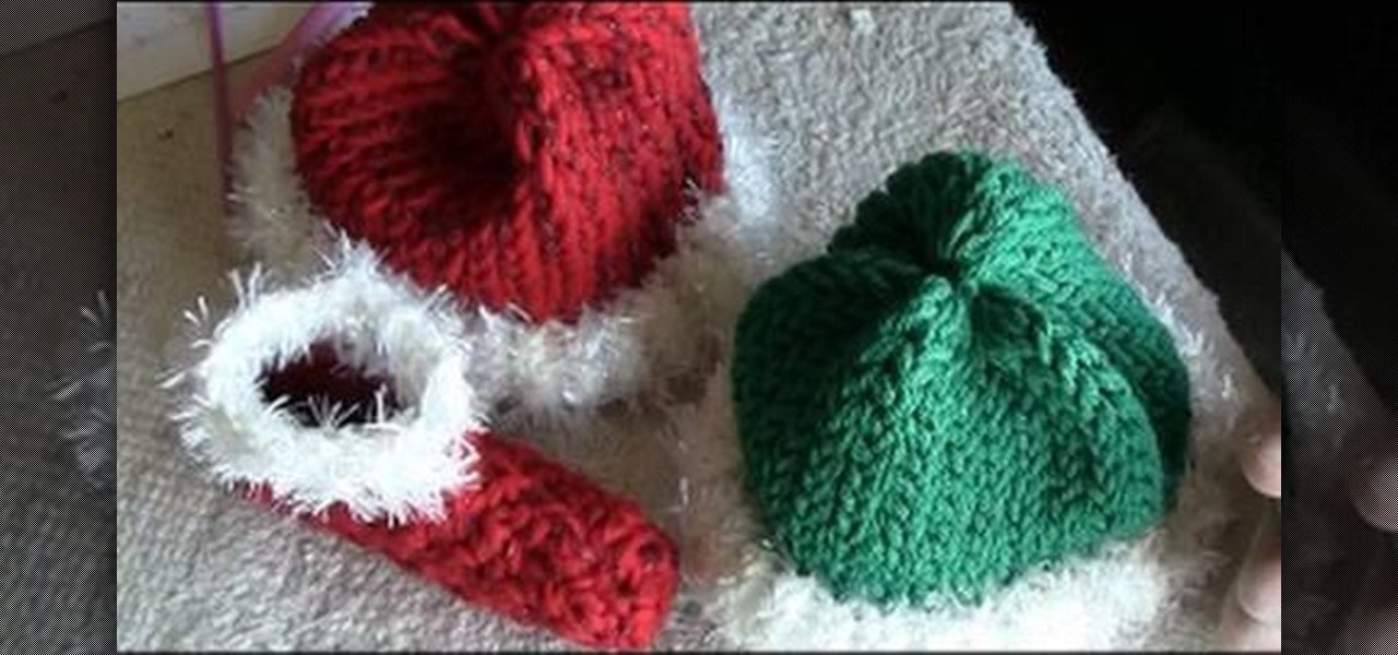 How to Loom knit elf and Santa hats for babies Knitting