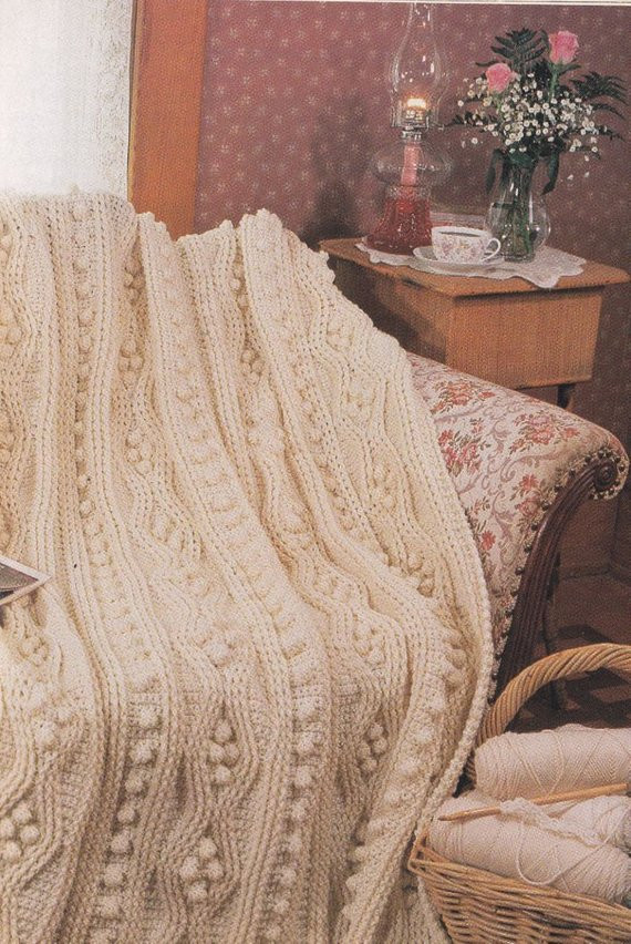 Items similar to Aran Afghan Crochet Pattern Pure Luxury