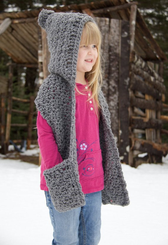 Awesome Items Similar to Crochet Hooded Scarf with Pockets Crochet Child Scarf Of Luxury 47 Ideas Crochet Child Scarf