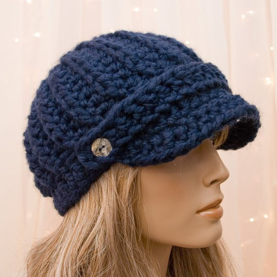 Awesome Items Similar to Crochet Newsboy Hat Navy Blue for Free Crochet Hat Patterns for Women Of Great 48 Photos Free Crochet Hat Patterns for Women