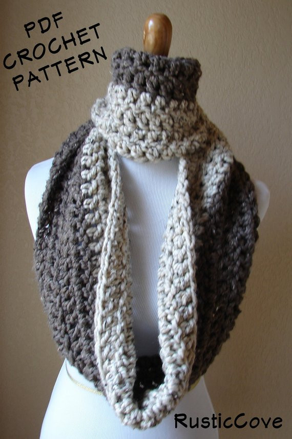 Awesome Items Similar to Crochet Pattern Download Pdf Two tone Crochet Cowl Neck Scarf Of Superb 49 Models Crochet Cowl Neck Scarf