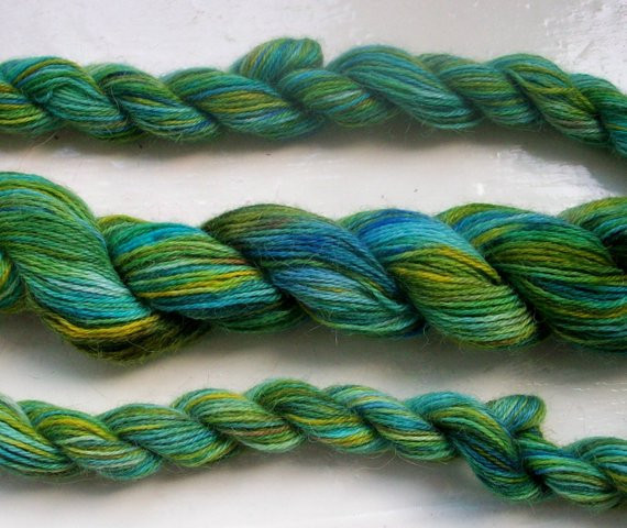 Items similar to Hand painted alpaca yarn emerald green on