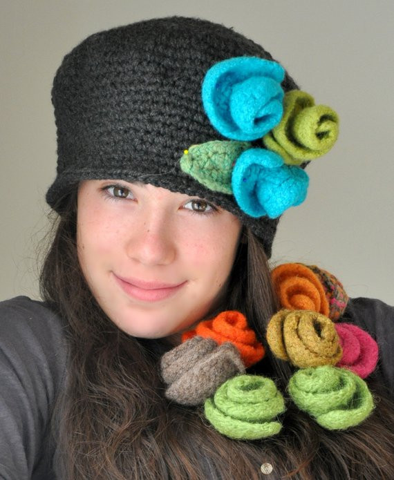 Awesome Items Similar to Heather Gray Crochet Hat Cloche Hat with Crochet Flower for Hat Of Beautiful 45 Photos Crochet Flower for Hat