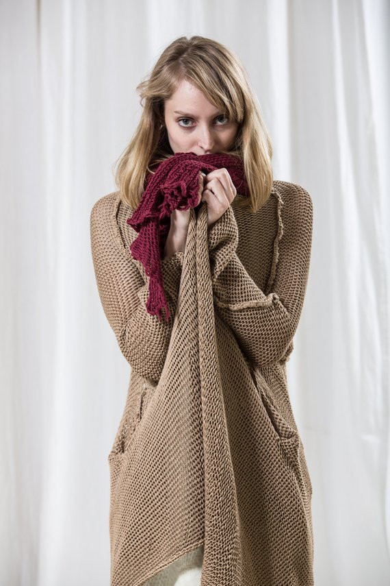 Items similar to Long Beige knitted sweater Natural