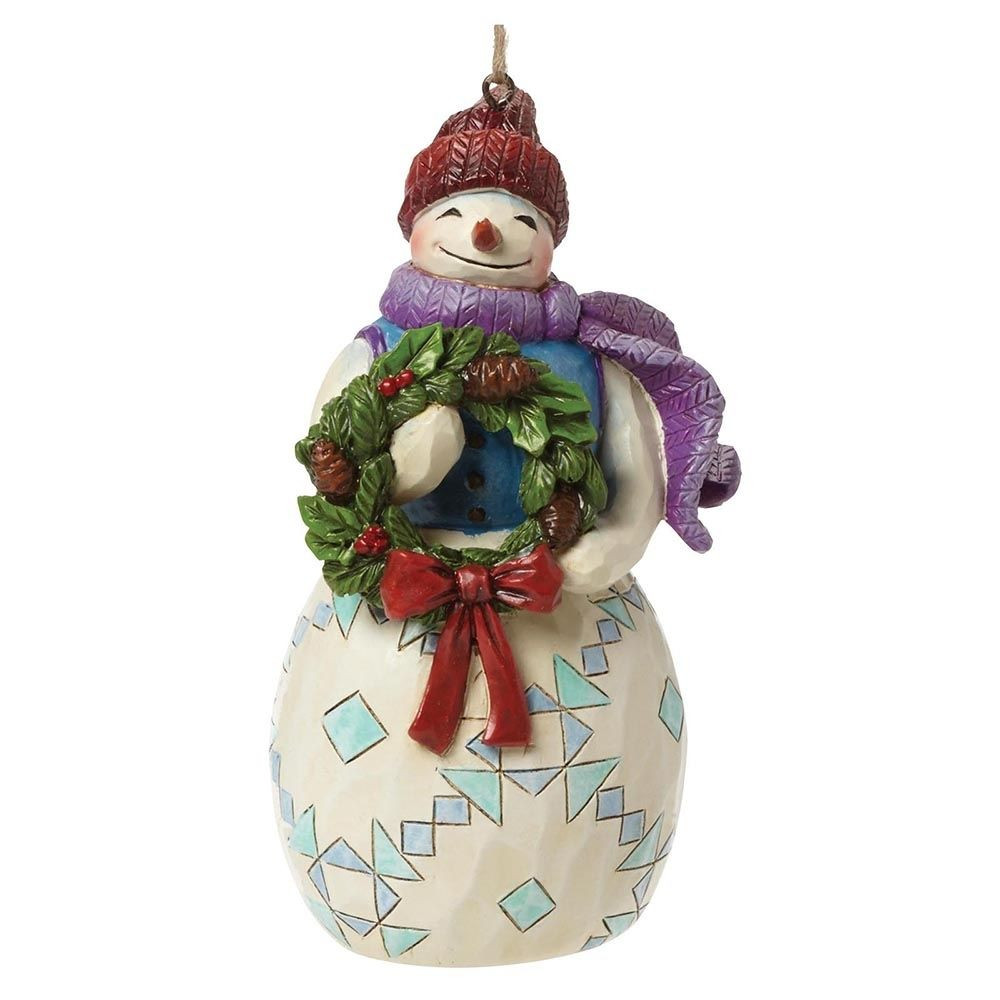 Awesome Jim Shore Heartwood Creek Snowman with Wreath Christmas Snowman Christmas ornaments Of Adorable 45 Models Snowman Christmas ornaments