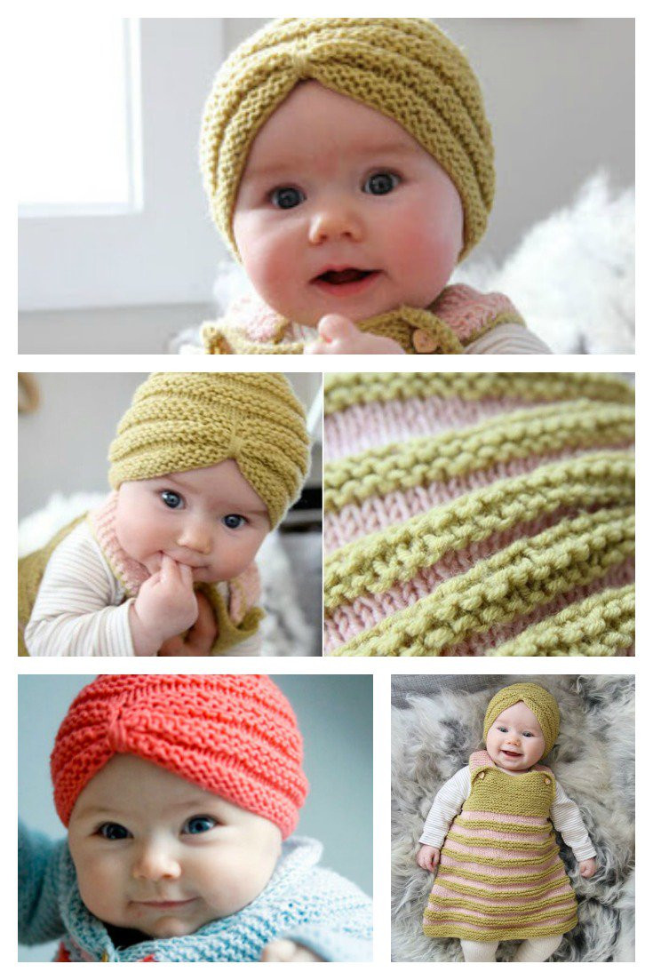 knit baby turban hat with free pattern