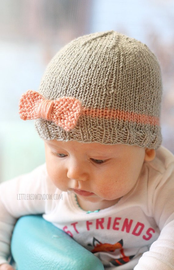 Knit Bow Baby Hat KNITTING PATTERN knit hat pattern for