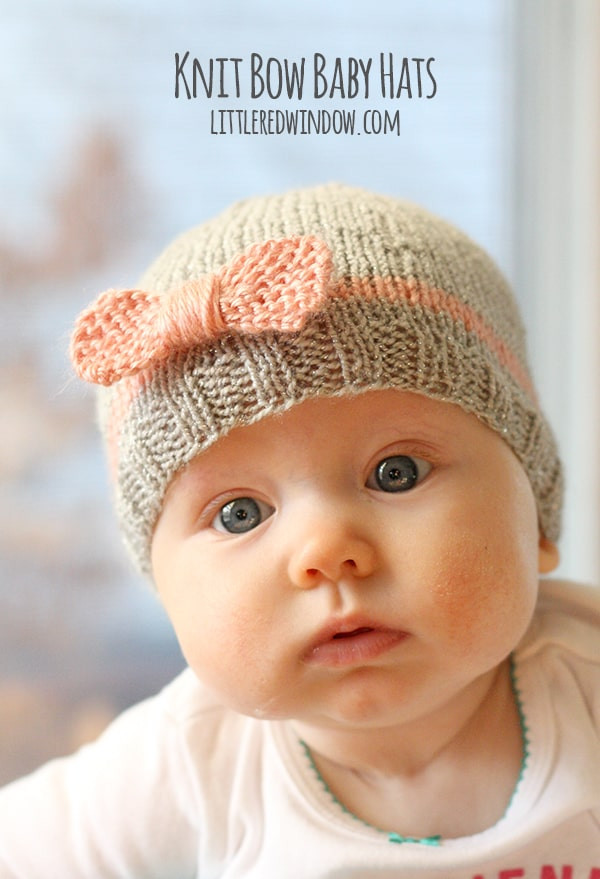 Knit Bow Baby Hats Little Red Window