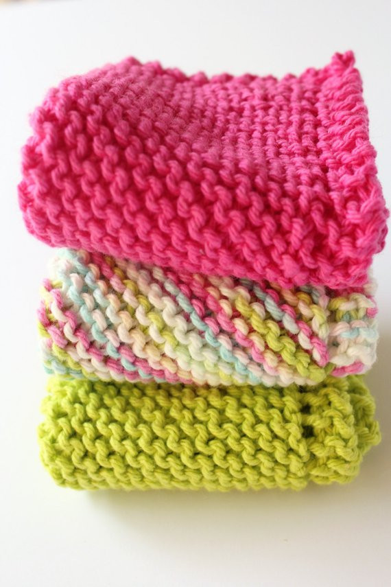 knitted bright dishcloths cotton knit