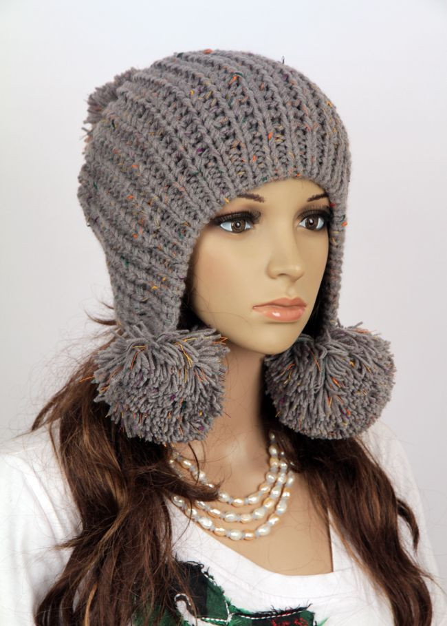 Awesome Knitted Hat with Pom Poms Need to Learn Otherwise Girls Knit Hats Of Delightful 44 Pics Girls Knit Hats