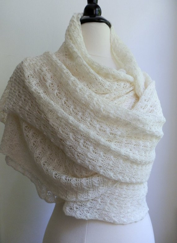 Awesome Knitted Vanilla White Lace Shawl Wedding Wrap Wool Tussah Knitted Wedding Shawl Of Awesome Wedding and Bridal Knitting Patterns Knitted Wedding Shawl