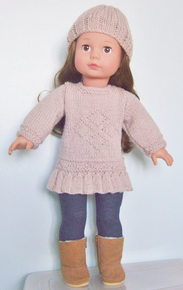 """Knitting pattern for 18"""" doll love this colour"""