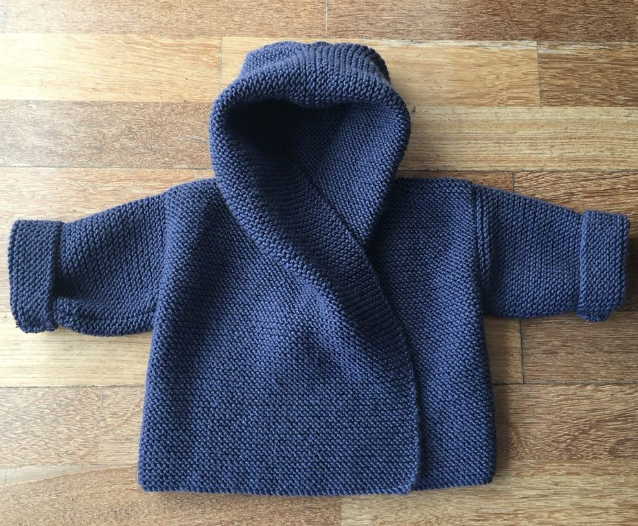 Knitting Pattern for Easy Baby Hooded Wrap Cardigan